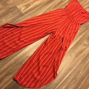 Strapless jumpsuit warm weather colorful linen